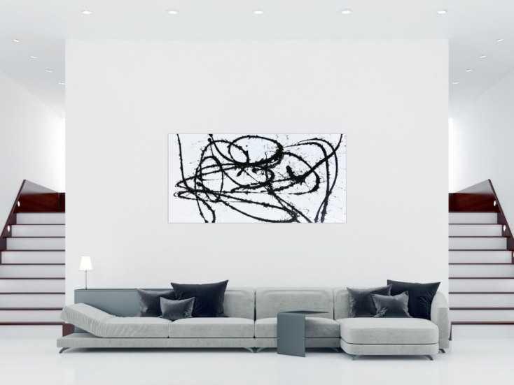 abstraktes actylbild minimalistisch schwarz wei modern auf leinwand 100x200cm. Black Bedroom Furniture Sets. Home Design Ideas