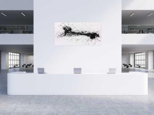 Minimalistisches Acrylbild schwarz weiß abstrakt modern