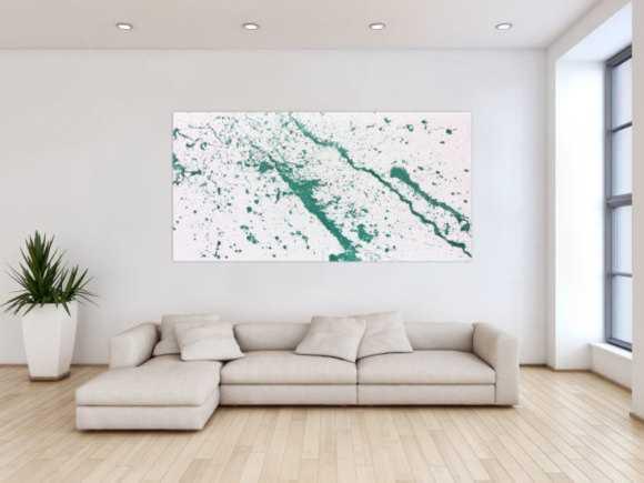 Abstraktes Acrylbild türkis modern minimalistisch