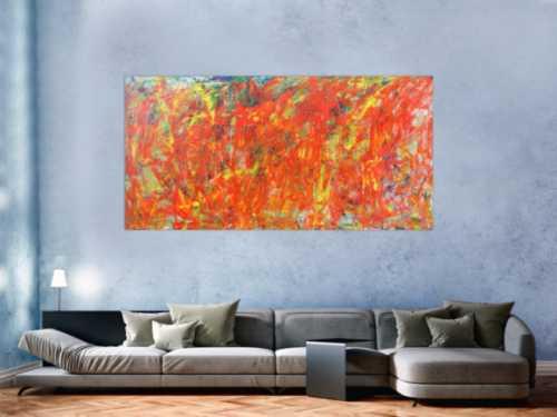 Abstraktes Acrylbild in orange und rot