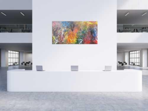 Modernes Acrylgemälde in bunten Farben und modern