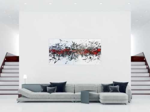 Abstraktes Acrylbild modern in weisß schwarz und rot