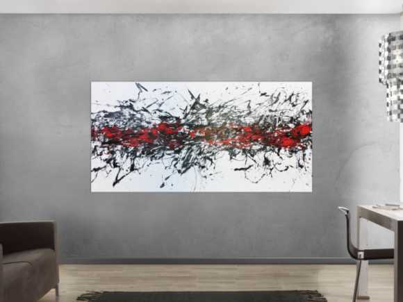 Abstraktes Acrylbild modern in weisß schwarz und rot 100x200cm