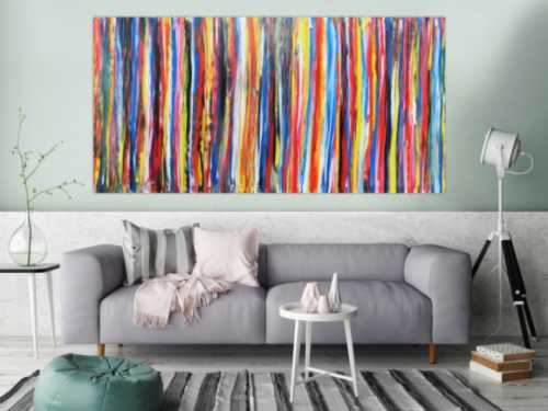 Abstraktes Acrylbild mit bunten streifen sehr modern