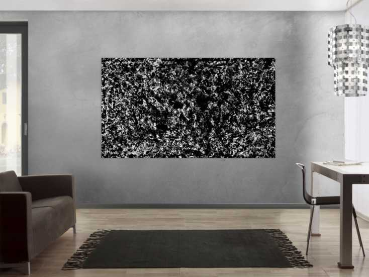 modernes acrylbild schwarz wei auf leinwand 120x200cm. Black Bedroom Furniture Sets. Home Design Ideas