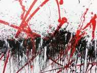 Detailaufnahme Abstraktes Acrylbild modern in schwarz weiß rot