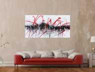 Abstraktes Acrylbild modern in schwarz weiß rot