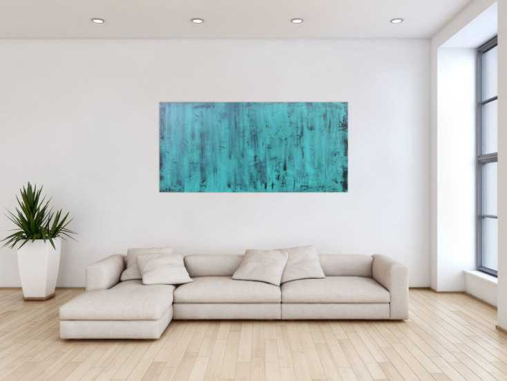 abstraktes acrylbild in t rkis vintage look auf leinwand 75x160cm. Black Bedroom Furniture Sets. Home Design Ideas