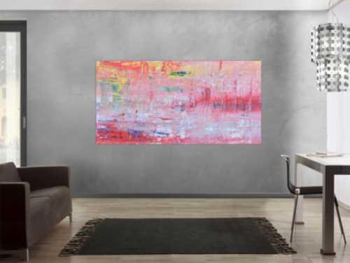 Abstraktes Acrylbild in rosa rot