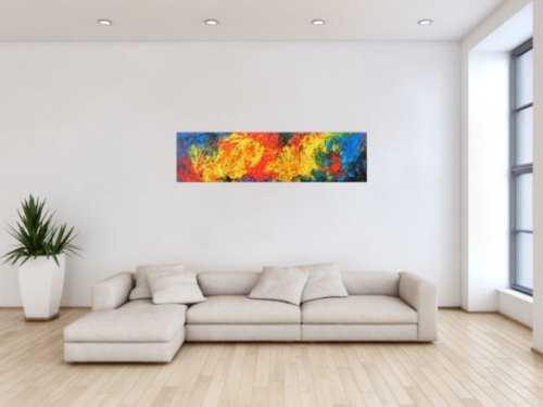 Abstraktes Acrylgemälde modern bunt gelb rot blau