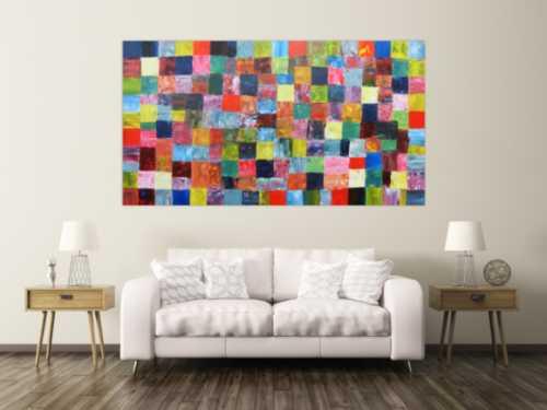 Abstraktes Acrylbild mit bunten Kacheln XXL modern