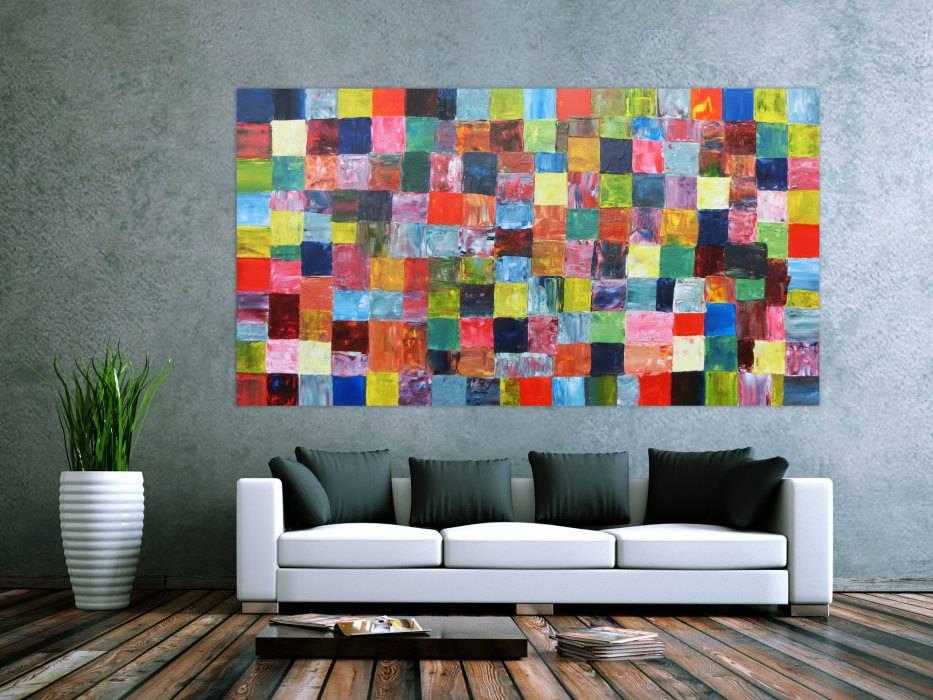 abstraktes acrylbild mit bunten kacheln xxl modern. Black Bedroom Furniture Sets. Home Design Ideas