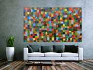 Abstraktes Acrylbild mit bunten Kacheln