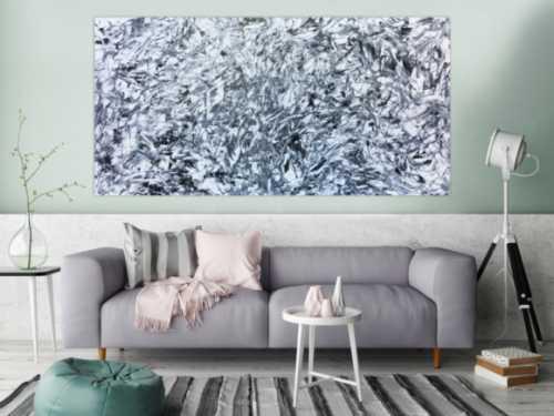 Abstraktes Acrylbild schwarz weiß minimalistisch modern und schlicht
