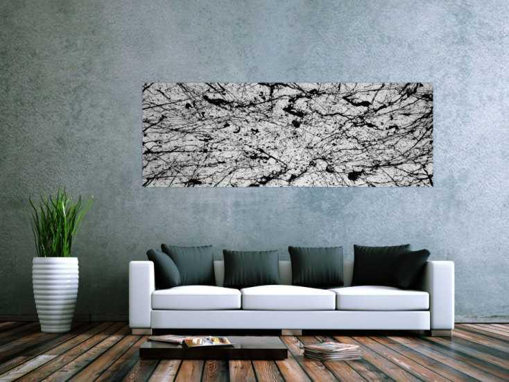 abstraktes acrylbild modern art schwarz wei auf leinwand. Black Bedroom Furniture Sets. Home Design Ideas