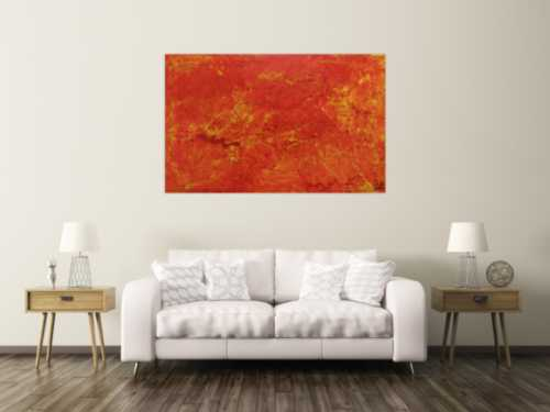 Abstraktes Acrylgemälde orange modern