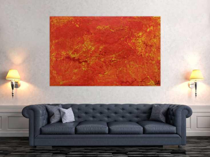 #293 Abstraktes Acrylgemälde orange modern 100x160cm von Alex Zerr