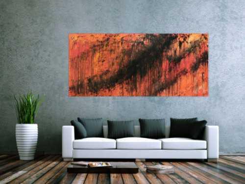 Abstraktes Acrylbild modern schwarz orange schlicht