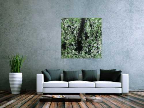 Modernes Acrylbild abstrakt grün schwarz weiß