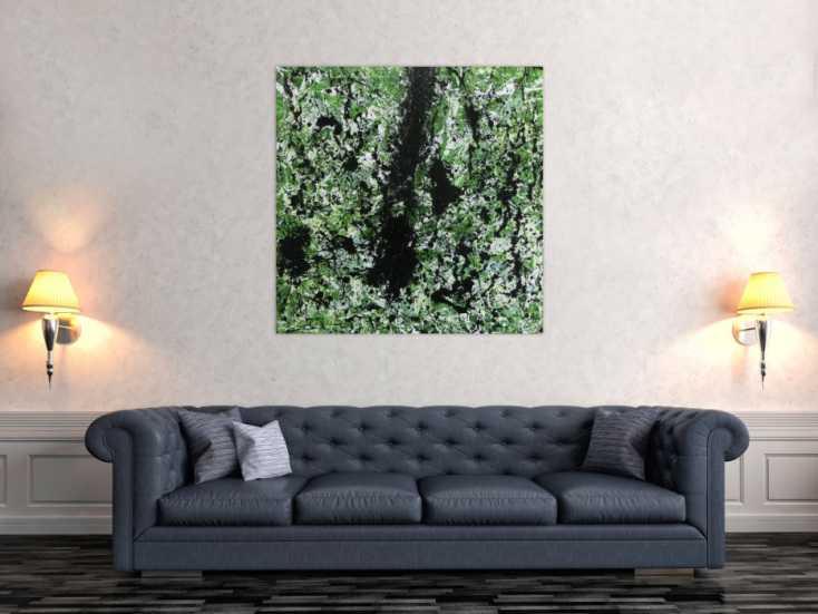 modernes acrylbild abstrakt gr n schwarz wei auf leinwand 100x100cm. Black Bedroom Furniture Sets. Home Design Ideas