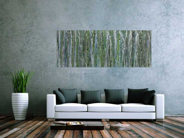 #298 Schlichtes Acrylbild abstrakt modern grün 70x180cm von Alex Zerr