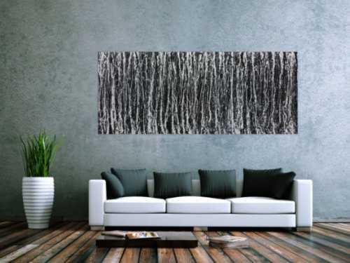 Modernes Acrylbild abstrakt schwarz weiß