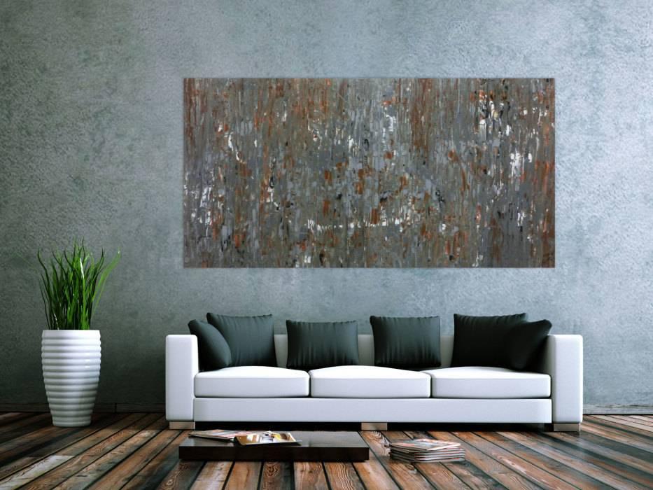 abstraktes acrylbild mdoern braun grau schlicht handgemalt auf leinwand in 100x200cm von alex zerr. Black Bedroom Furniture Sets. Home Design Ideas