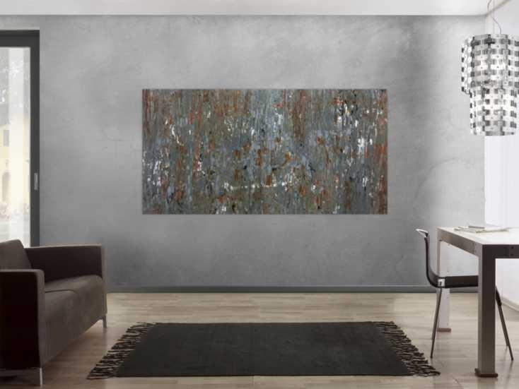 #301 Abstraktes Acrylbild mdoern braun grau schlicht 100x200cm von Alex Zerr
