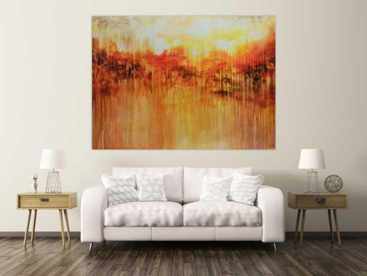 abstraktes acrylbild sehr gro xxl sehr ausdrucksstark orange mediterran auf leinwand 150x200cm. Black Bedroom Furniture Sets. Home Design Ideas