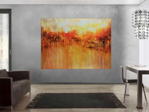 Abstraktes Acrylbild sehr groß xxl sehr ausdrucksstark orange mediterran
