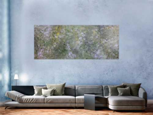 Abstraktes Acrylbild modern grün grau