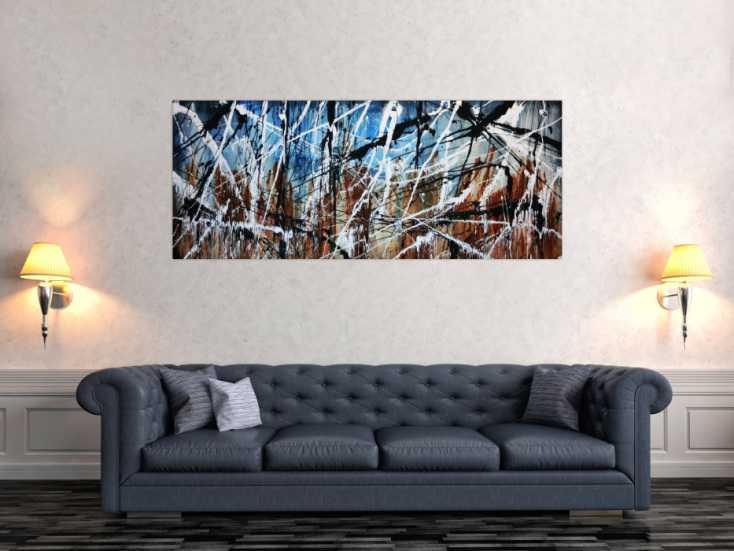 abstraktes gem lde modern auf leinwand 70x160cm. Black Bedroom Furniture Sets. Home Design Ideas
