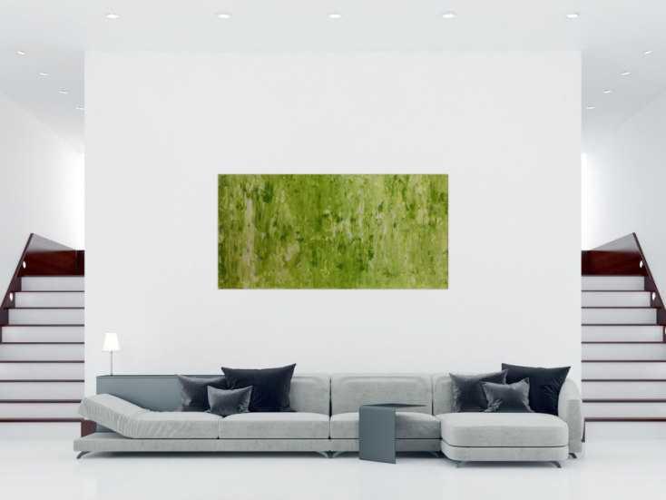 #310 Abstraktes Acrylbild Gemälde grün modern 100x200cm von Alex Zerr