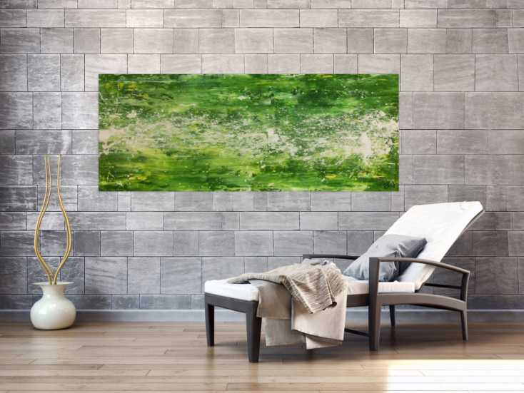 #312 Modernes Acrylgemälde abstrakt grün weiß 70x180cm von Alex Zerr