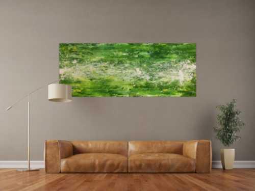 Modernes Acrylgemälde abstrakt grün weiß