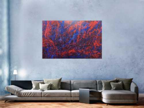 Abstraktes Acrylbild blau rot lila modern schlicht