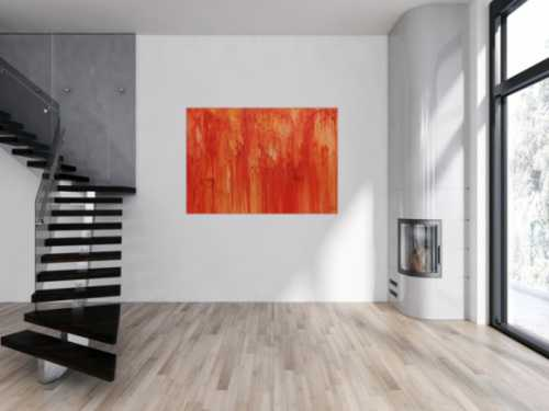 Abstraktes Acrylbild modern in orange