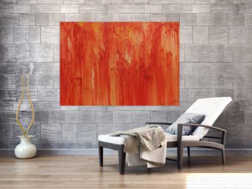 Abstraktes Acrylbild modern in orange