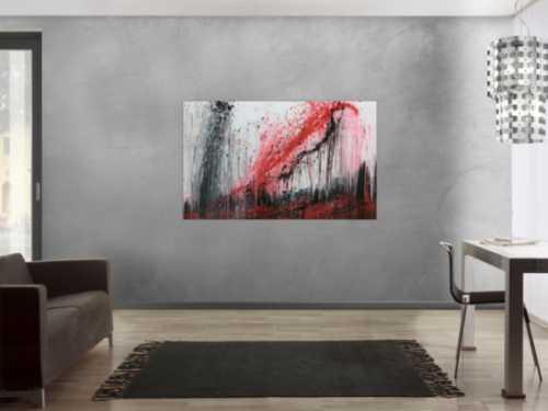 Modernes Acrylgemälde rot schwaz weiß