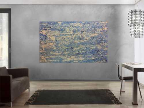 Schlichtes Acrylbild in blau weiß modern