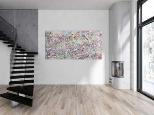 Abstraktes Acrylbild hell bunte Farben modern und schlicht
