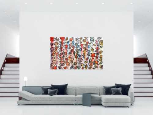 Abstraktes Acrylbild mit vielen Augen bunt modern schlicht