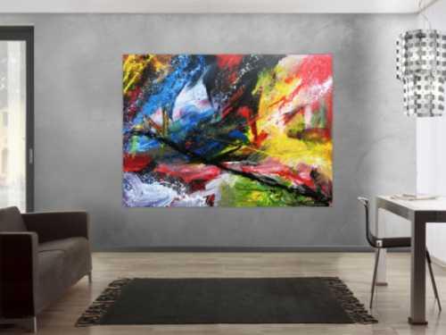 Modernes Acrylgemälde bunt mit vielen Farben abstrakt