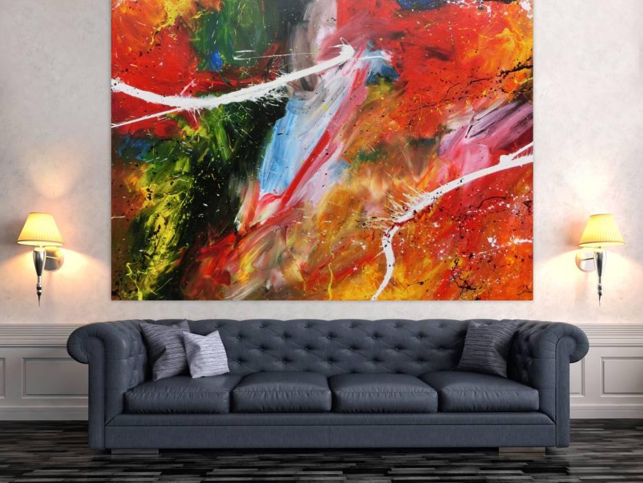 Hochwertige Kunst auf Leinwand Abstraktes Acrylbild bunt ...
