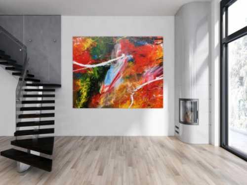 Abstraktes Acrylbild bunt viele Farben sehr modern