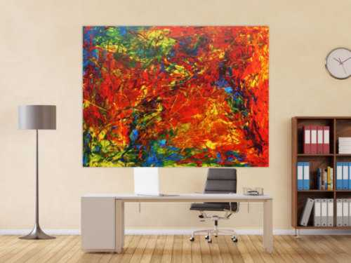 Modernes Acrylbild abstrakt sehr bunt für Loft, Praxis oder Büro