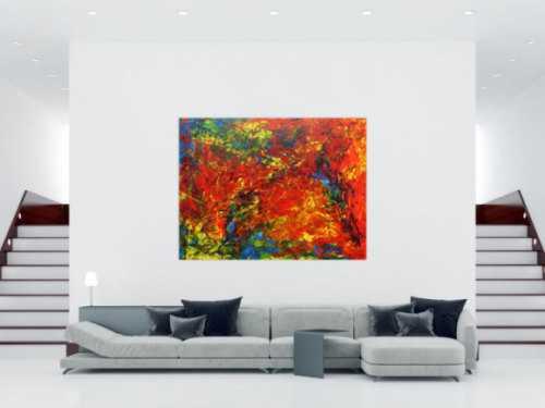 Modernes Acrylbild abstrakt sehr bunt für Loft Praxis oder Büro