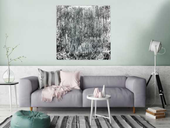 Schlichtes abstraktes Acrylbild in schwarz weiß grau