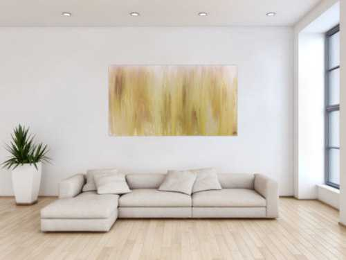 Abstraktes Acrylbild beige schlicht modern