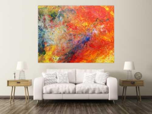 Abstraktes Acrylbild sehr bunt modern luxus